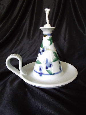 HANDCRAFTED Pottery OIL LAMP w/ HANDLE - Signed - 1997 - NEVER USED