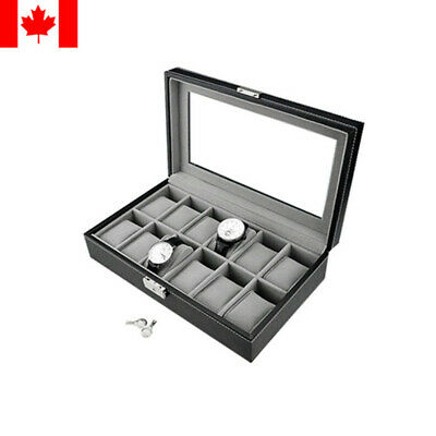 Black Leather Watch Display Case Collection Storage Organizer Box 12 slots grids