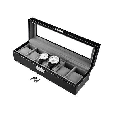 Black Leather Watch Display Case Jewelry Collection Storage Organizer Box 6 Grid