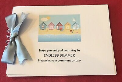A5 40 page Beach Hut theme visitors comments book personalised with your wording
