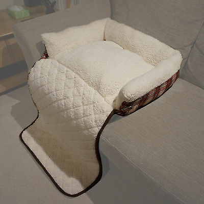 Small Red Check Folding Cat/Dog Sheepskin Fleece Bed Sofa/Couch/Chair Cover