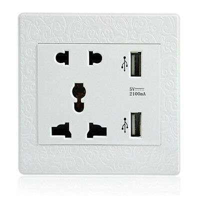 AC Power Adapter Socket Receptacle With 2 Port USB Wall Charger Outlet Plate