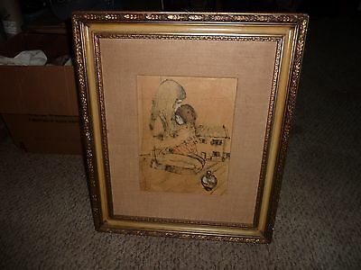 William Benecke- Listed Artist-  Pen and Ink watercolor signed