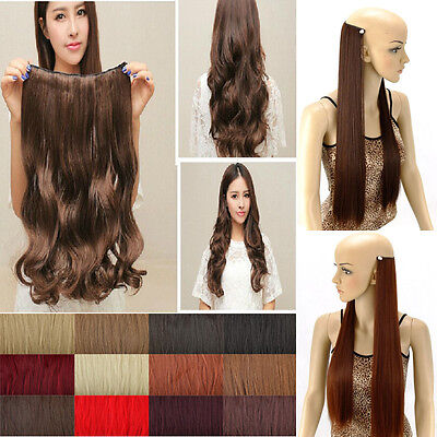 Real Natural One Piece Clip in Hair Extensions Long Wavy Curly Hair 5 Clips lts