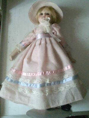 SCHMID 18 INCH MUSICAL PORCELAIN DOLL AND STAND  WORKS