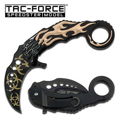 Tac Force Spring Assisted  Karambit Claw Knife. Grey Skull handle