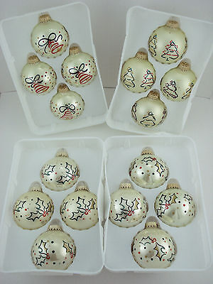 """16 Holiday Time 2.5"""" glass ball Christmas ornaments Trees Holly Bells w Glitter"""
