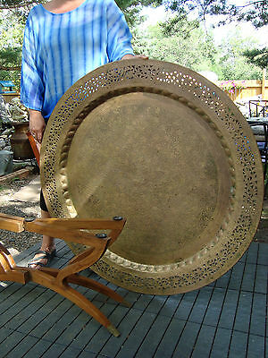 Huge Antique Brass Pierced Table with Teak spider Legs Free Shippng USA & Canada