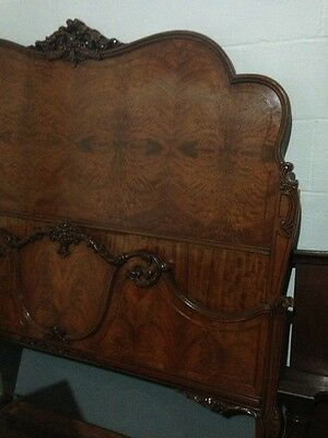 Antique French Louis XV Style Walnut Carved Bed Full Size