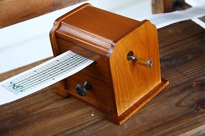 DIY Compose Punched Tune Tape Strips Wood Music Box + Puncher + 30 Paper tapes