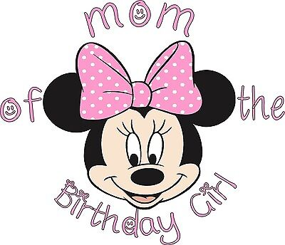 PINK Polka Mom Of The Birthday Girl Minnie Mouse T Shirt 287