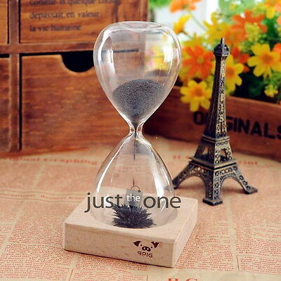 1 x 100 Seconds Hourglass Timer Black Iron Sand Blooming Flower Magnet Magnetic
