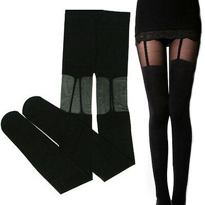 Women Attractive Sexy Stretchy Stockings Black Leggings Socks/w Decorated Garter