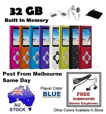 "AU Stock 32GB 1.8"" LCD MP3 MP4 Music Video Media Player Radio FM (BLUE)"