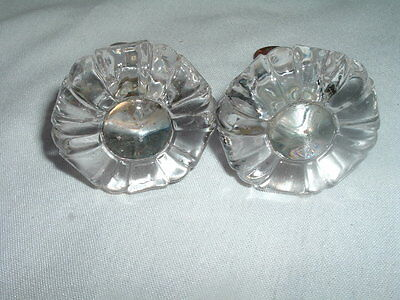 2 VINTAGE VICTORIAN ROUND CLEAR CRYSTAL MOLDED GLASS KNOBS PULLS