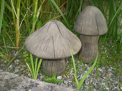 Stone Garden Set Of 2 Small Stripy Comedy Toadstool / Mushroom Ornament