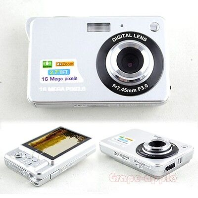 "BID17  2.7"" TFT 16MP 4XDIGITAL ZOOM DIGITAL CAMERA CAMCORDER US PLUG Silver"