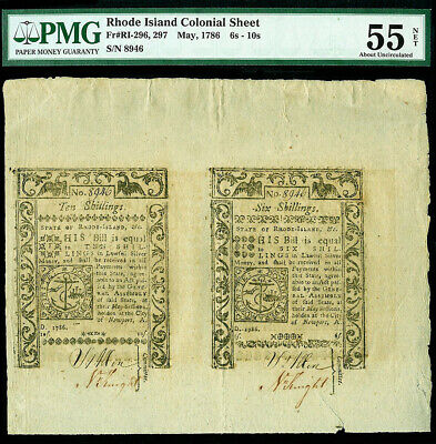 May, 1786 Rhode Island 6 & 10 Shillings Uncut Colonial Sheet Pmg Au 55 Net