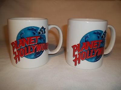 PLANET HOLLYWOOD  WHITE COFFEE CUPS  (SET OF 2)  NEW