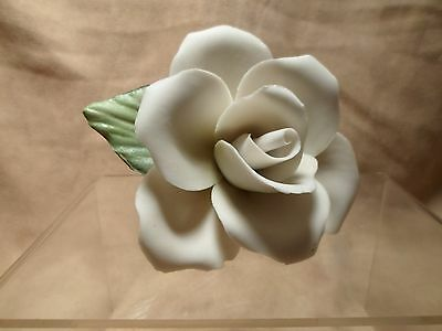 ~*~Capodimonte Porcelain Rose White Hint of Yellow~Gifts of Love!!!~*~