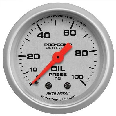 Auto Meter Ultra-Lite 52mm 0-100 PSI Mechanical Oil Pressure Gauge