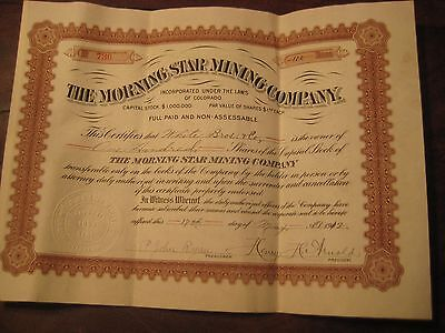 """VINTAGE """"MORNING STAR MINING COMPANY"""" STOCK CERTIFICATE 1902"""