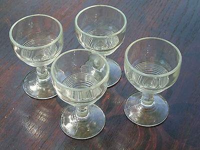 """4 Clear Pressed Tally Ho 2.5 Ounce Goblets--we believe; Horizontal Rings; 3.5"""" T"""