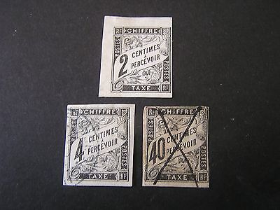 FRENCH COLONIES, SCOTT # J2+J4+J10,TOTAL 3 1884 POSTAGE DUE ISSUE USED