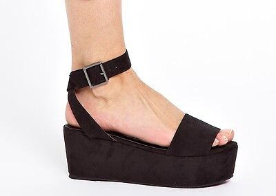 NEW ASOS Black Humble Flatform Sandals Sz. 6 (Ankle Strap, Urban Outfitters)