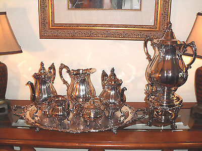 Silver tea and coffee set with urn, water pitcher and serving tray by Wallace