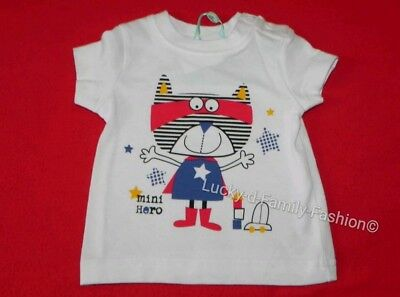 NEW M&Co baby boy Cat star superhero top age 0-3 9-12 Months White Blue Red gift