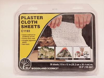 "Woodland Scenics Plaster Cloth #1193 (30) 8""x12"" Sheets -Model train scenery New"