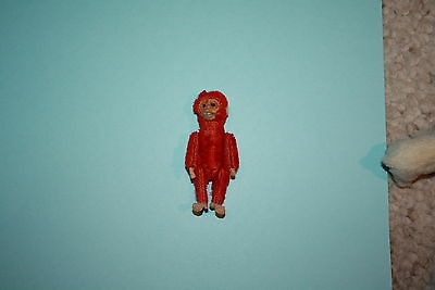 Rare Schuco Miniature Red Mohair Jointed Monkey Perfume Bottle