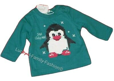 NEW M&Co baby boy Christmas Winter Penguin top t shirt age 0-3 Months Cotton