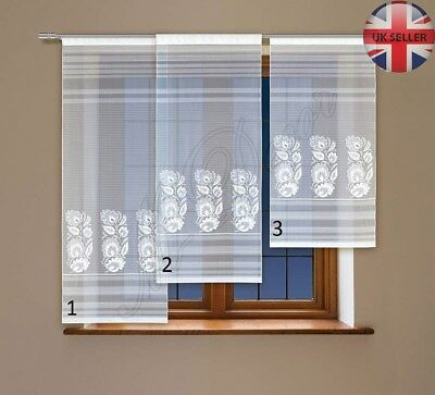 """Window net curtain panel ready to hang WHITE Drop120cm-47""""or140cm-55""""or160cm-63"""""""
