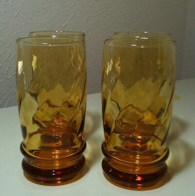 """Vintage Libbey Amber Swirl Diner Style Water Glasses 5.25"""" Set Of 4"""