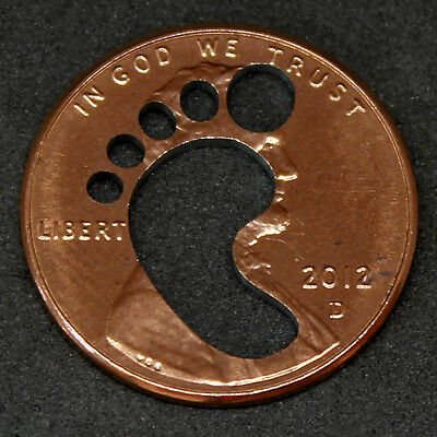 Lucky Penny with foot print cut out