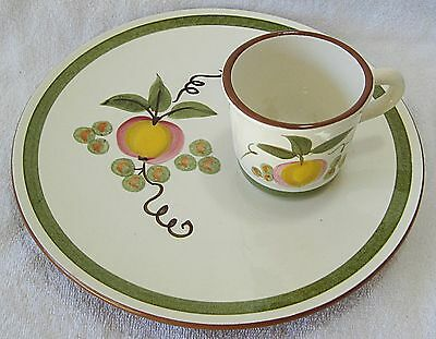 STANGL APPLE DELIGHT SNACK PLATE AND CUP SET