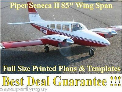 """Piper Senaca 85"""" WS Giant Scale RC Airplane Full Size PRINTED Plans & Templates"""