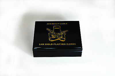 Double Deck Ned Kelly 24Kt Gold Foil Playing Cards 999.9 Famous Ned Kellys Gold