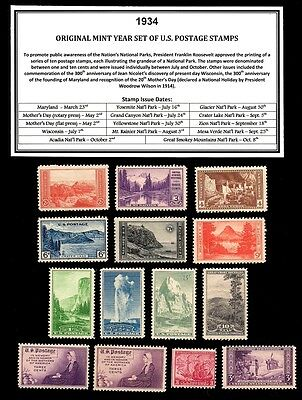 1934 Year Set Of Mint -Mnh- Vintage U.s. Postage Stamps