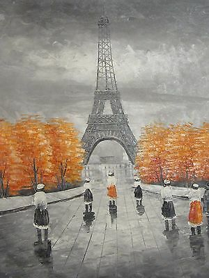 black white Paris large hand painted oil painting canvas French contemporary art