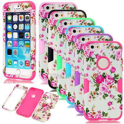Deluxe Matte Peony Flower Dual Layer Hybrid Shockproof Cases For iPhone 6 / Plus