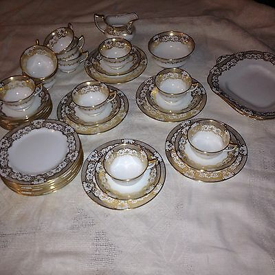 Aynsley 40 Piece White And Gold Tea Set 1920's