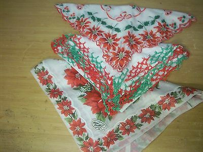 3 Lot Vintage CHRISTMAS HANKIES handercheifs~crocheted  hand painted poinsettas