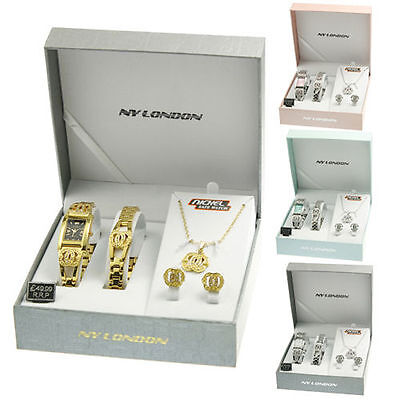 Ladies Watch Necklace Bracelet Earrings Gift Set Pendant Silver Womens Girls New
