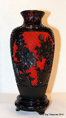 """BEAUTIFUL 10"""" ASIAN CARVED CINNABAR VASE BLACK LACQUER *EXCELLENT CONDITION"""