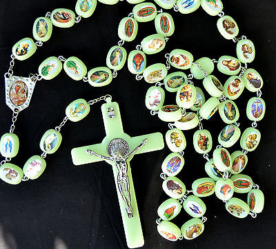 Huge luminous glow in the dark Rosary Beads Necklace Wall Hanging Jerusalem