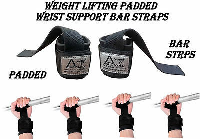Austodex Weight Lifting Power Bar Wrist Straps Weightlifting Bodybuilding Gym