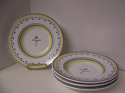 """Williams Sonoma 4 Soup Pasta Bowls (10"""") Blue Yellow Green Wso4 Italy Very Nice"""